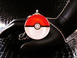Pokeball glass necklace by AngelElementsEtsy