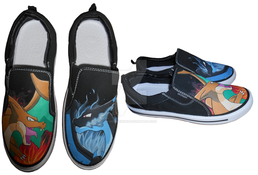 Charizard Pokemon Hand Painted Shoes by DruidicDesigns