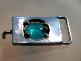 Stainless n Glass Belt Buckle by ou8nrtist2