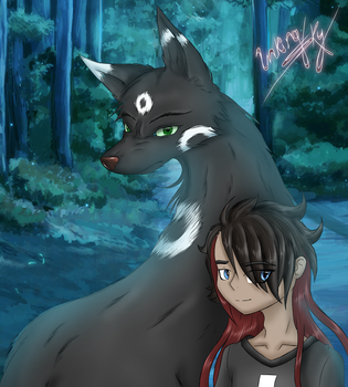 The boy and his Kitsune by InkingSky