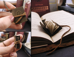 Tiny Steampunk Journal Necklace by GildedGears