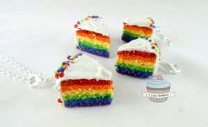 Rainbow cake slice necklace by ilikeshiniesfakery