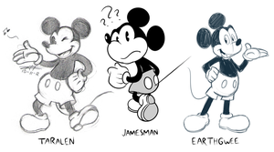 Tara, Gwee and James draw Mickey Mouse 8D by JamesmanTheRegenold