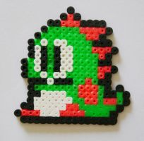 Bubble Bobble Perler Sprite by yolei-s