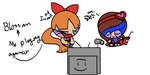 Me and Blossom Playing a Video Game by Goddess-Of-Craziness