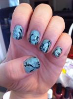 Dragonfly Newspaper Nail Art by ineedacat9