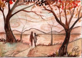 ACEO-Autumnal wandering by DawnyDawn