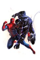 Spider man  vs venom by dleoblack