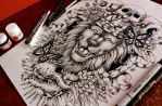 Lion Back Tattoo by EG-TheFreak