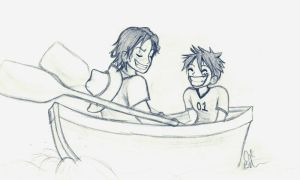 Luffy and Ace: in a boat by shakespearemelody