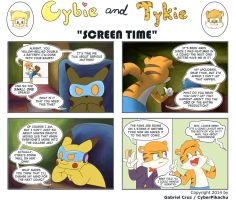 Cybie and Tykie - Screen Time by CyberPikachu