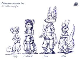 Characters sketches line by DekabristMouse