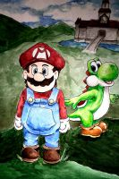 Close Up On Mario And Yoshi by Feral-Maiden