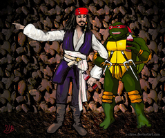 Jack Sparrow and Raphael by V-Shine