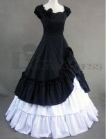 Multi-Layer Black and White Gothic Victorian Dress by haluson