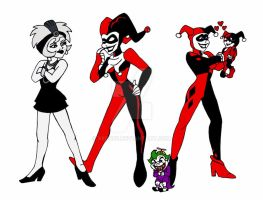 3 generations of Harley Quinn by xero87