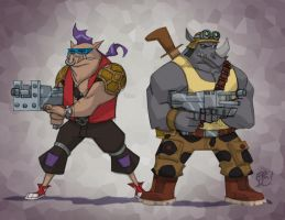 Bebop and Rocksteady by EricGuzman
