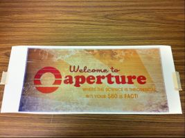 Welcome to Aperture - 70's sign printout. by ChrisInVT