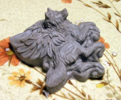 Winged Wolf pendant complete before baking by Meadowknight