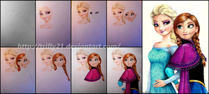 Elsa and Anna - Step-by-Step by Trilly21