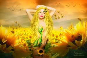 Sun flower woman by annemaria48