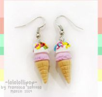 Roselline Ice Cream Earhooks by lololollipop