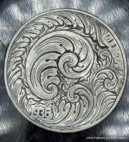 Hand Engraved Scrollwork Coin by Shaun Hughes by shaun750