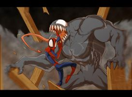 Venom Vs Spiderman fight by Anny-D