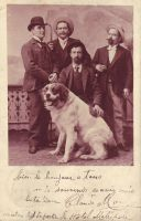 Four men and their dog by PostcardsStock