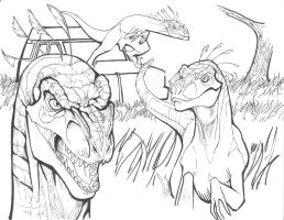 Raptors In the Long Grass WIP by packraptor