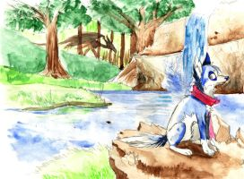 Dragon in background ouo by Apivo