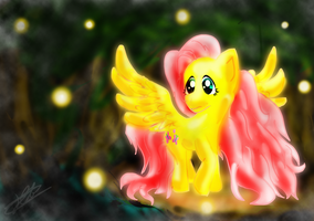 Fluttershy- light in the Everfree Forest by katie-the-fox