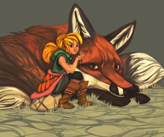 Giant Fox and Girl by Koi-Lantern