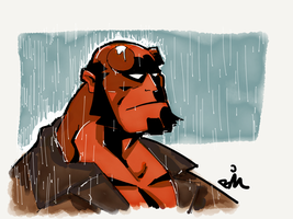 Hellboy in the Rain by bsimser