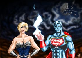 Filling In - Power Girl and Captain Atom by adamantis