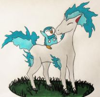 Piplup and Shiny Ponyta by Oh-Ninja-Please
