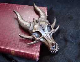 Cold Cast Bronze Dragon Skull Wall Hanging by Nightlyre