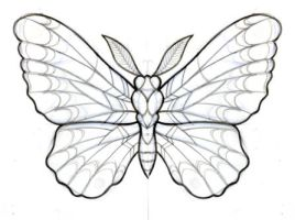 butterfly sketch for a cover tattoo by OniBaka