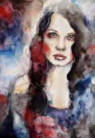 Timebomb, watercolor portrait speed painting by jane-beata