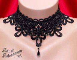 Nocturne Burlesque Lace Choker by ArtOfAdornment