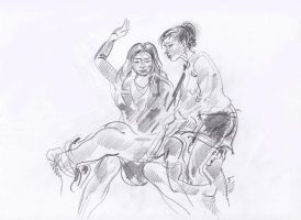 Boy spanked OTK - sketch by kindinov