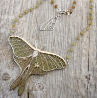 Actias Luna Necklace by thebluekraken