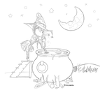 Witch's Brew {Lineart- Free to Color} by VioletsInEden