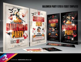 Halloween Party Flyer and Ticket Templates by AnotherBcreation