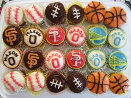 San Francisco Bay Area Sports Cupcakes by iliketodoodle