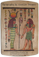 Egyptian  Pyrograph (Woodburning) Side 1 -  Colour by snazzie-designz