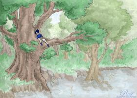 Sasuke in a tree by askerian