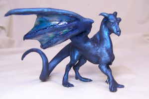 ooak little blue dragon by AmandaKathryn