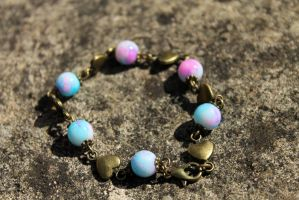 Antique Heart and Bead Bracelet by Clerdy