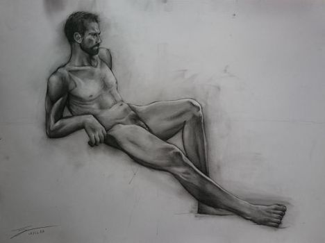 Traditional Art - Nude Male Anatomy by Renow54